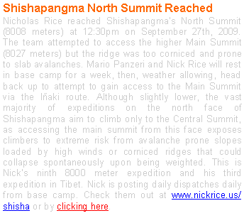 Text Box: Shishapangma North Summit Reached